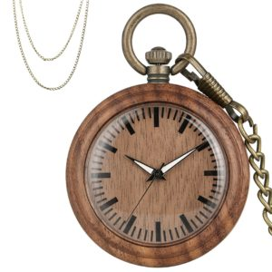 Walnut wood pocket watch
