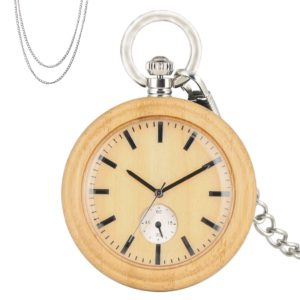 Bamboo wood pocket watch or necklace watch