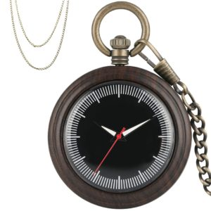 Modern Ebony Wood Pocket Watch