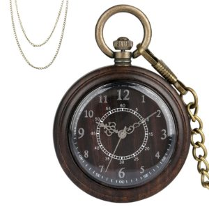 Retro ebony wood pocket watch