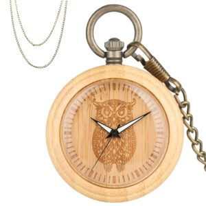 Owl bamboo wood pocket watch