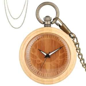 Deer head bamboo wood pocket watch