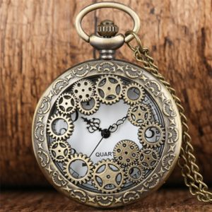 Montre gousset Steampunk en bronze engrenages