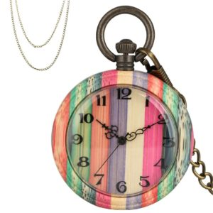 Multicolored wooden pocket watch