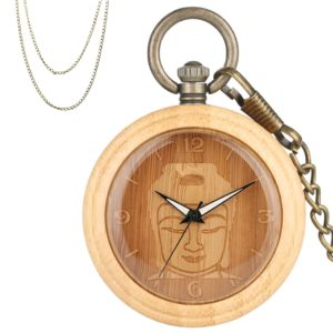 Buddha bamboo wood pocket watch