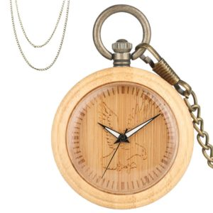 Aigle bamboo wood pocket watch