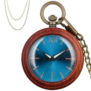 Red Wood Pocket Watch Blue Dial