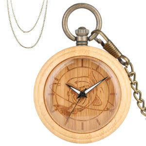 Fish bamboo wood pocket watch