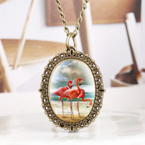 Pink flamingo enamel pendant watch
