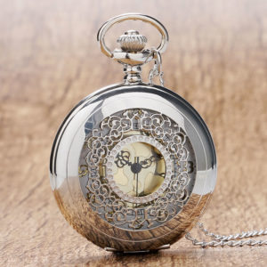 Chiseled silver-style pocket watch